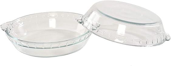 """HOME-X Pie Bakeware Set of 2, Glass Baking Accessories, 7"""" Dessert Pie Plates"""