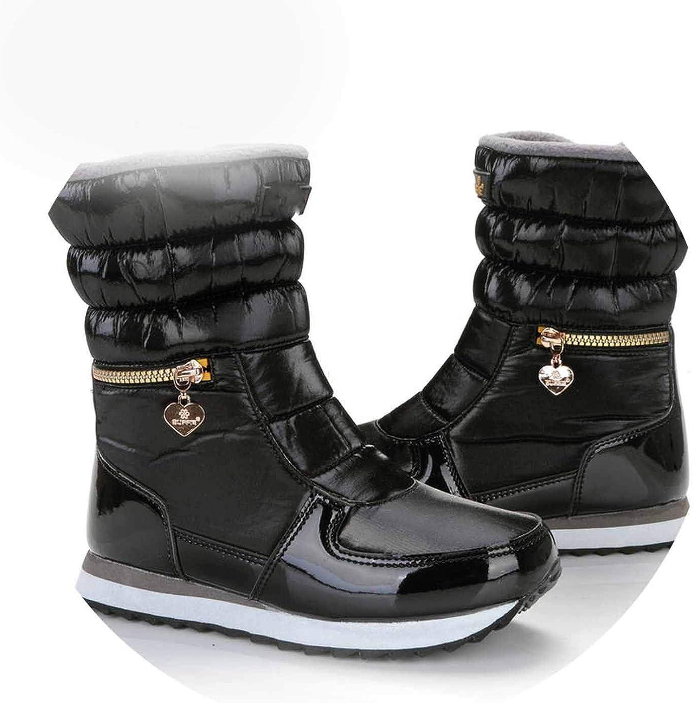 Superb Zone s shoes y Snow Boots Zipper Easy Wearing Short Slip Resistance,M025Black,35