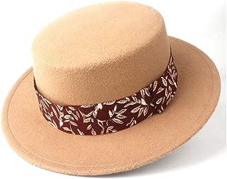 WUNONG-AU Men's and Women's Flat Top Cap Fedora Ms. Fascinator Casual Wild Style British Style Top Hat Fedora Hat Gentleman Daddy Church Hat (Color : Khaki, Size : 56-58)