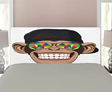 Ambesonne Cartoon Headboard, Fun Hipster Monkey with Colorful Sunglasses and Hat Rapper Hippie Ape Art, Upholstered Decorativ