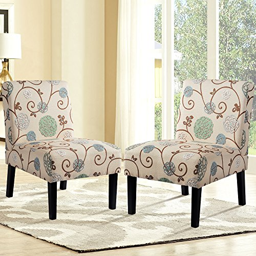 Set of 2 Fabric Accent Dining Chairs Sofa Side Chairs Upholstered Armchair with Wood Legs Home Furniture (Beige/Floral)