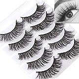 3D Mink False Eyelashes Full Strips Thick Cross Long Lashes Wispy Fluffy Eye Makeup Tools 5 Pairs (Q2)