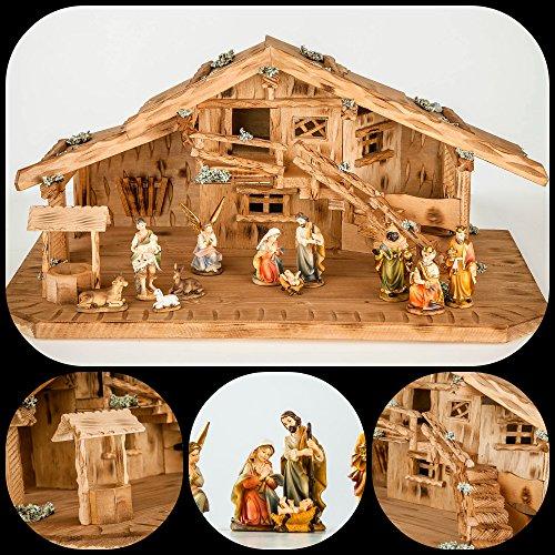 Große Weihnachtskrippe Krippe-(W09+KF2)-mit Figuren 9,5cm- Krippenstall Weihnachten-Weihnachtskrippen