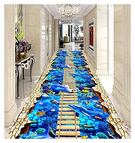ditan XIAWU 3DEntrance Teppich Gang Schlafzimmer Kann Geschnitten Werden Streifen Zuhause (Color : Blue, Size : 60x160cm)