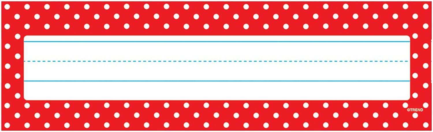 TREND enterprises, Inc. Polka Dots Red Desk Toppers Name Plates, 36 ct