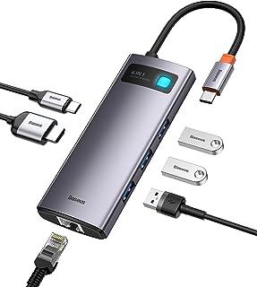 Adaptador hub USB C 6 em 1, estação de ancoragem Baseus com portas de carregamento 4K HDMI, 100W PD, 3 portas USB 3.0, por...