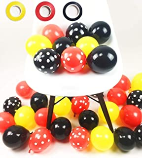 100 Pack Mickey Mouses Balloons, 12 Inch Latex Balloons Red Black Yellow Polka Dot Balloons Mickey Color Balloons Kit for ...