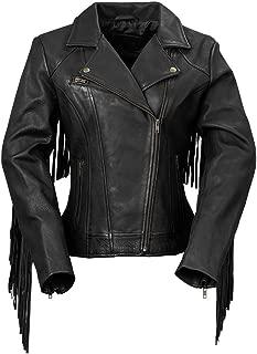 Whet Blu The Daisy Women's Fringed Leather Jacket,Black,Medium