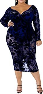 IyMoo Women's Sexy Plus Size Mesh Lace See Through Bodycon Clubwear Dress Fashion Party Dress