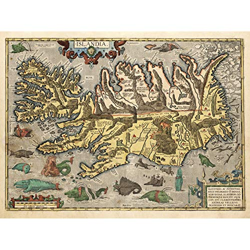 Map Ortelius 1585 Iceland Sea Monsters Pictorial Wall Art Print Poster Home Decor Premium kaart Island Monster muur Poster