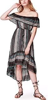 LanXi Ethnic Dress One Shoulder with Ruffles for Spring Summer