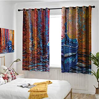 hengshu Country 99% Blackout Curtains Pastel Color Paint of Fishing Sail Boat in The Sea Dark Fairy Image Dramatic Art Work for Bedroom Kindergarten Living Room W84 x L108 Inch Multi