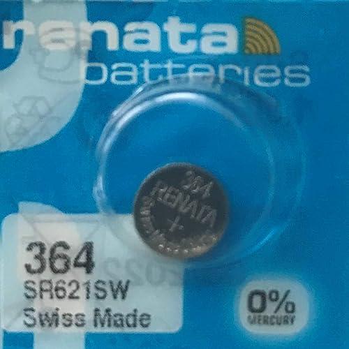 1 x Batterie Montre Renata poignet - Fabriqué en Suisse - Sans Piles oxyde d'argent 0% Mercure Renata Pile bouton 1,5...
