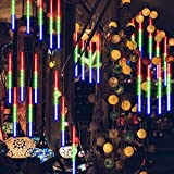 GPODER Shower Rain Lights 30CM, 8 Waterproof Spiral Tubes Meteor Lights, 288 LEDs Falling Rain Lights for Christmas Outdoor Garden House Window Xmas Tree Decoration(Multicolor)