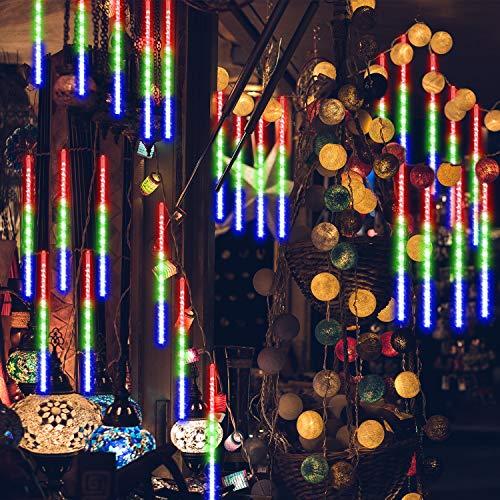 GPODER Meteorschauer Lichter 30CM, 8 Wasserdicht Tubes Meteor Lichterkette, 288 LEDs Lichterkette, Meteorschauer Regen Lichter für Weihnachtsdekoration, Garten, Aussen und Party(Bunt)
