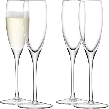 LSA International Wine Champagne Flute (4 Pack), 5.1 fl. oz., Clear