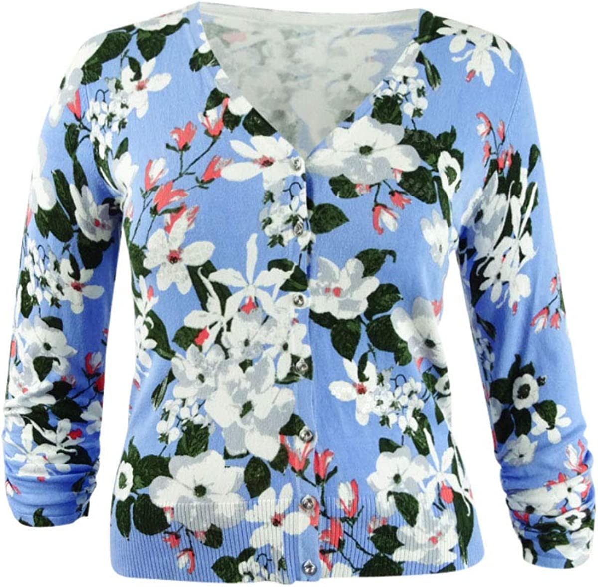 INC Womens Blue Floral Long Sleeve Open Cardigan Top Size L