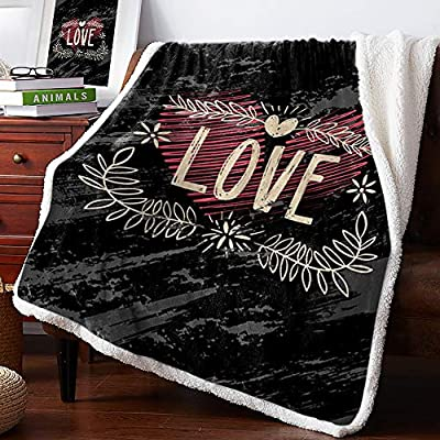 BABE MAPS Warm Cozy Flannel Sherpa Throw Blanket Valentine's Day Lightweight Bed Blankets All Season Use for Bed, Couch, Car, Abstract Heart Wreath of Willow Decor