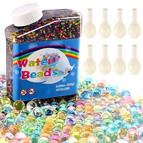 Yosemy 50000 PCS Bolas de Gel de Agua, Perlas de Gel para Decoración del Florero, Plantas, Flores, Hogar, Bolas de Biogel para Adultos y Niños (8 Globos Adicionales Incluidos) Multicolor