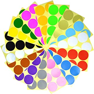 BronaGrand 32 Sheets 50mm Round Dot Stickers Color Coding Labels, 16 Different Assorted Colors Dot Labels