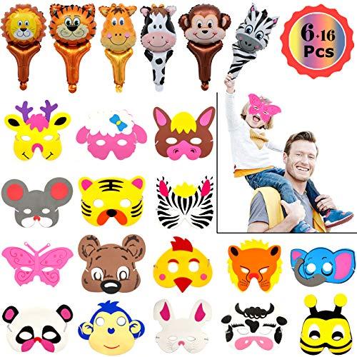 YuChiSX EVA-dierenmaskers, Jungle Safari Animal Theme Party-set, Animal Foam-maskers voor Feesttassen voor Kinderen, Maskerade, Verjaardagsfeestje, Halloween, Kerstmis, Kinderfeestjes