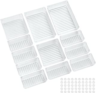 ACCEVO 12 pièces organisateur tiroir maquillage transparent, boîte de rangement tiroir en plastique, organisateur de tiroi...