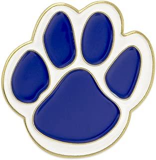 PinMart Blue and White Animal Paw Print School Mascot Enamel Lapel Pin