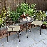 Mesa Con Sillas Bistro Sets - 2 plazas de jardín juego de comedor - resistente a la intemperie sin necesidad de mantenimiento - de aluminio fundido de metal conjunto de patio - Estilo elegante lamenta