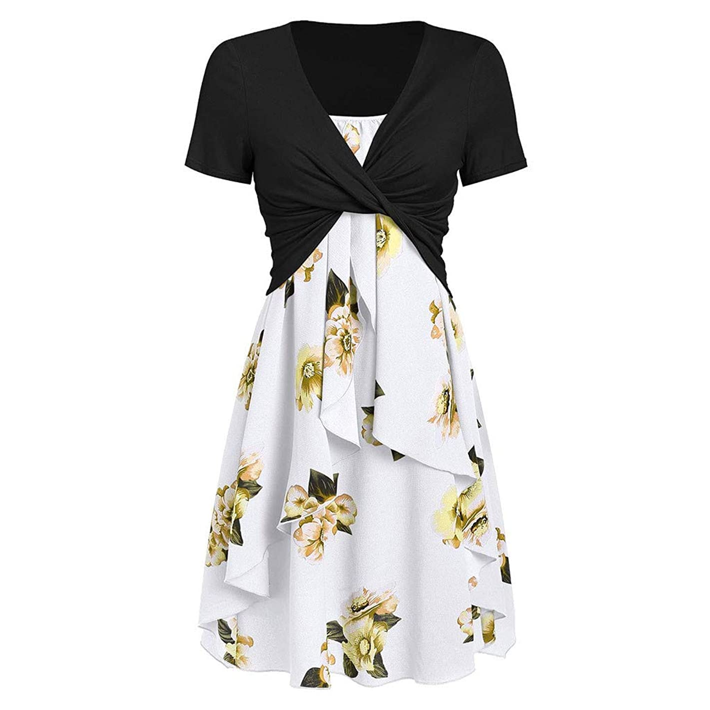 Women's Short Sleeve Cover Print Dress Set Loose Swing Casual Midi Dress Knee-Length Beach Cami Dress Sundress