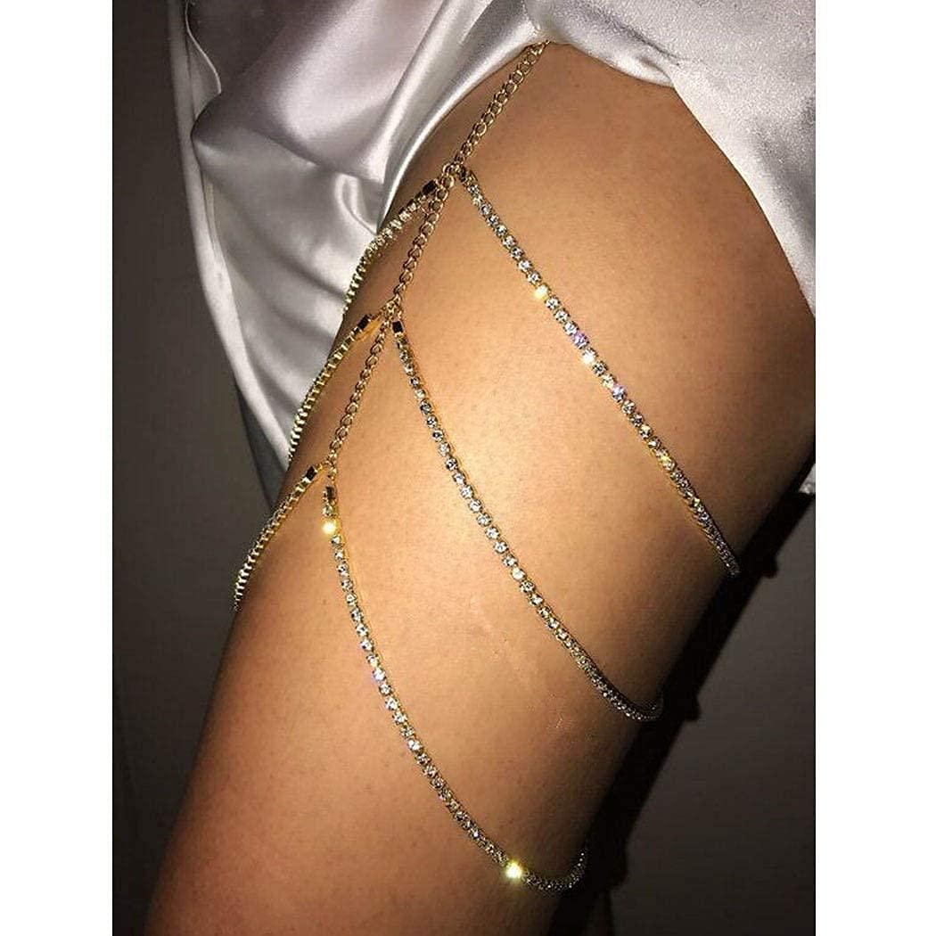 Chicque Sexy Gold Thigh Chains Rhinestone Leg Jewelry Crystal Bikini Leg Chain Layered Beach Body Jewelry Party Body Accesssory for Women and Girls