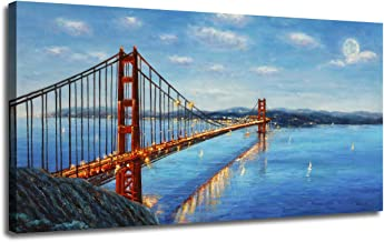 Ardemy Canvas Wall Art Prints Modern Golden Gate Bridge Red Picture Panorama Seascape, Modern Blue Ocean Twilight Landscape Painting Framed for Living Room Bedroom Dinning Room Home Office Wall Decor