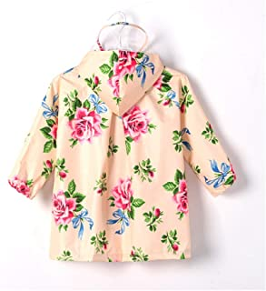 Xuxiaojuanye Almond Flower Printed Child Baby Waterproof Raincoat Light Breathable (Color : Almond, Size : XXL)