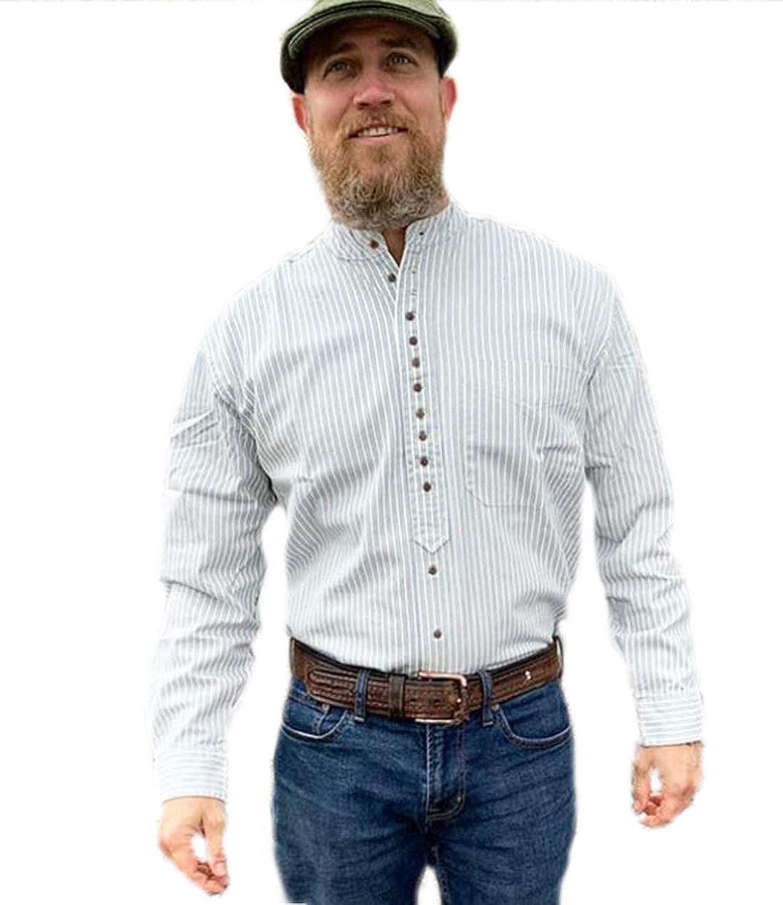 Traditional 在庫処分 Irish Grandfather Shirt - Pinstripe 大特価!! Gray and White