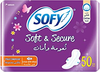 SOFY Soft & Secure, Maxi, Large 29 cm, Sanitary Pads with Wings, Pack of 50 Pads