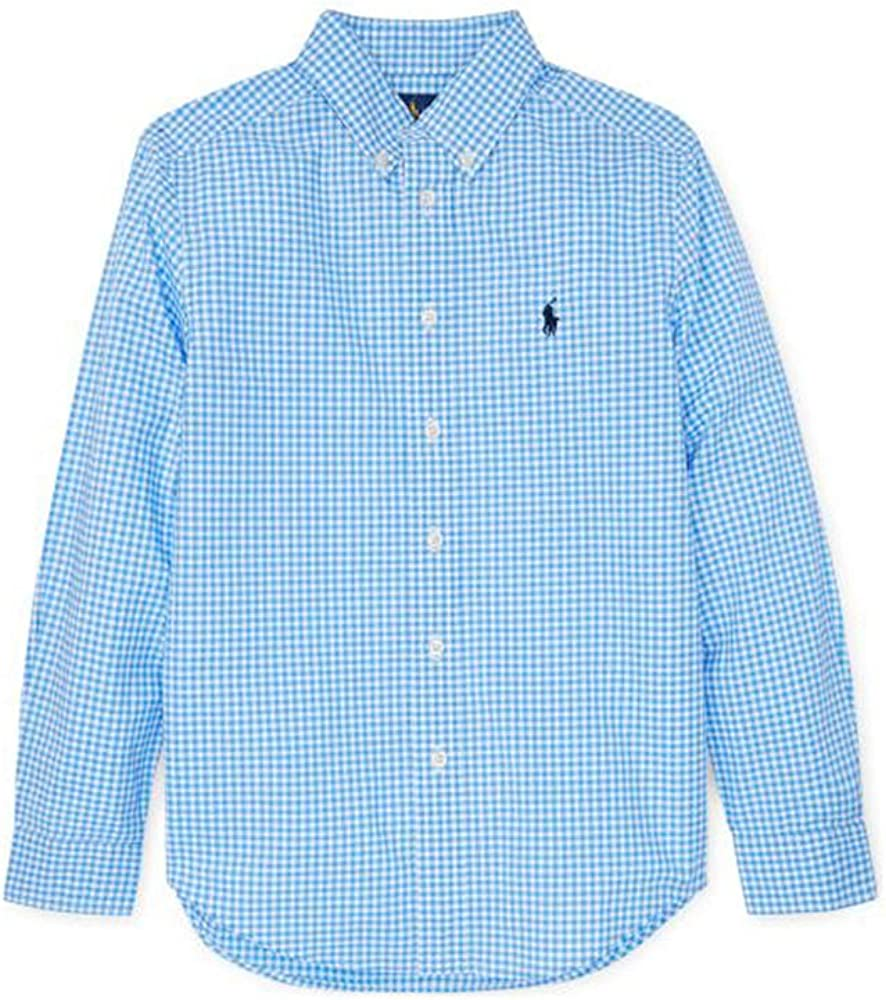 Polo Ralph Lauren Boy's Gingham Cotton Poplin Shirt, Light Blue
