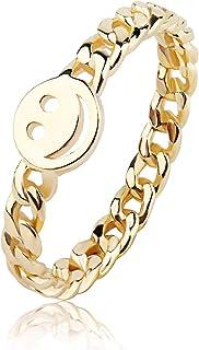 خاتم وجه مبتسم ذهبي من ييجون مع حلقة سلسلة لطيفة رابط الحظ الجيد خواتم قابلة للتكديس للنساء