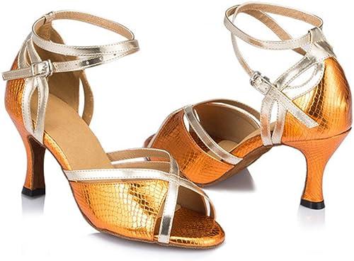 Wohommes Chaussures De Danse Latine,PU Fond Mou Talons Hauts Salsa Chaussures De Danse Sociale Indoor Sandale