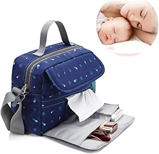 Baby Diaper Backpack,Soft Changing Pad Stroller Straps Large Capacity Multi-Function Waterproof Unisex for Travel,Navy,S