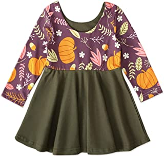Xifamniy Infant Girls Long Sleeve Skirt Cartoon Pattern Contrast Color Festival Dress Green