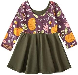 Xifamniy Infant Girls Long Sleeve Skirt Cartoon Pattern Contrast Color Festival Dress Green