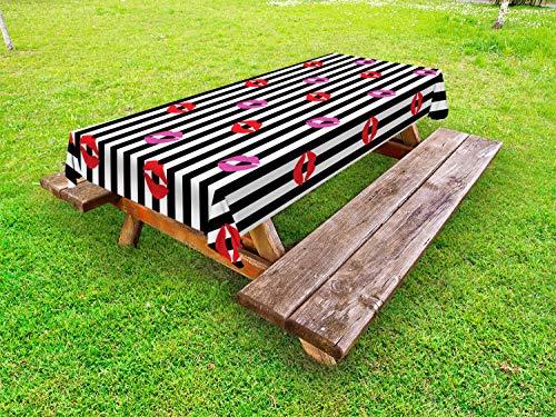 ABAKUHAUS küssen Outdoor-Tischdecke, Lippenstift Drucke auf Streifen, dekorative waschbare Picknick-Tischdecke, 145 x 265 cm, grau Multicolor