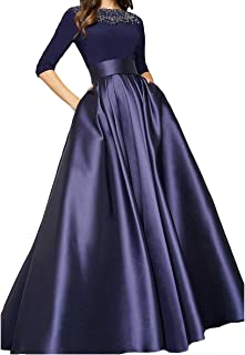 QUZI DRESS Women's Scoop A-Line 3/4 Sleeves Satin with Beads Prom Dresses QZ005