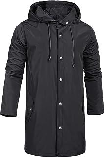 ZEGOLO Men's Raincoats Lightweight Waterproof Windbreaker Outdoor Hooded Long Rain Jacket Trench Coats S-XXL