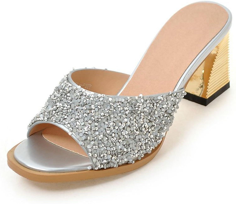 DoraTasia Fashion Peep Toe Glitter Upper Hoof Heels Slipping on Women's Slides Sandals