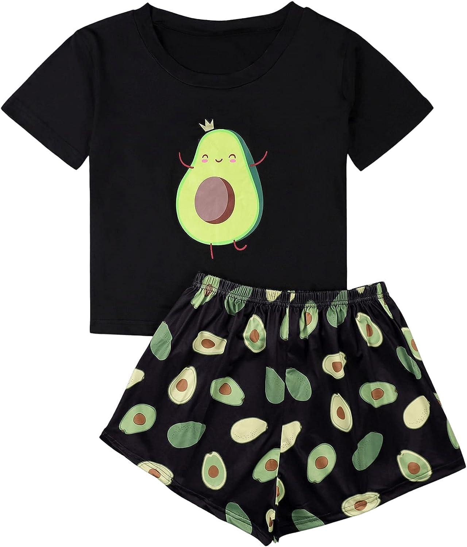 DIDK Women's Printed Pajama Set Tee and Shorts Cartoon Sleepwear