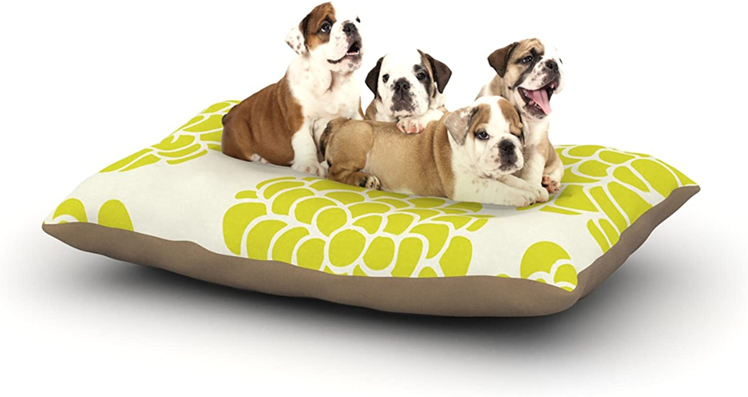 Kess InHouse Pom Graphic Design Grape Blossoms  Yellow Circles Dog Bed, 30 by 40Inch