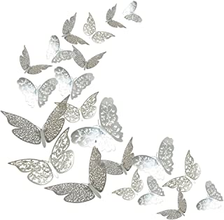 ADLKGG 3D Butterfly Wall Decals Stickers Decorations, Hollow-Out 36 PCS Butterflies Art Decor for Party & Home Silver Stic...