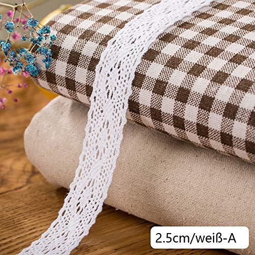 DAHI Spitzenband weiß 26 Meter Baumwolle Dekoband -2.5cm Vintage Spitzenborte Häkel-Borte für Basteln Nähen Hochzeit Deko Scrapbooking Geschenkbox (weiß-A)