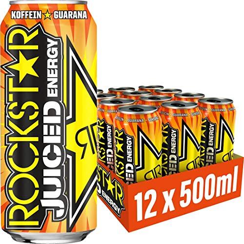 Rockstar Energy Drink Juiced mit Mango, Orange & Passionsfrucht - Koffeinhaltiges Erfrischungsgetränk für den Energie Kick, EINWEG (12x 500ml)