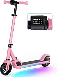Electric Scooter, Electric Scooter for Kids Age 8+, Colorful Rainbow Lights, LED Display, 3 Level Adjustable Speeds and He...